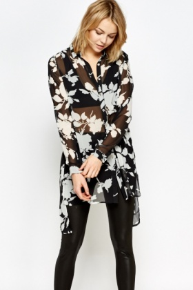 Floral Printed Longline Blouse