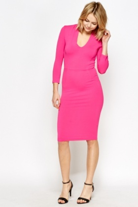 Fuchsia Plunge Pencil Dress