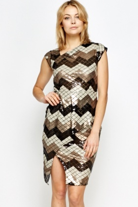 Zig Zag Sequin Asymmetric Dress