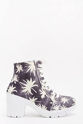 Black Denim Palm Tree Boots