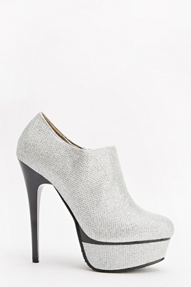 Silver Lurex Ankle Heeled Boots