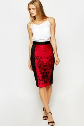Red Ornate Panel Pencil Skirt
