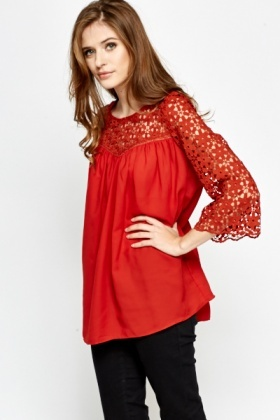 Floral Crochet Floaty Blouse