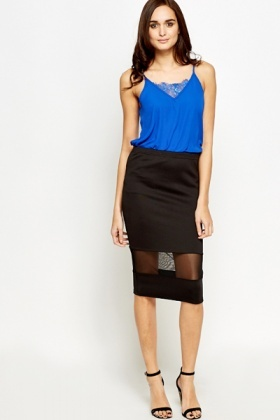 Mesh Panel Black Bodycon Skirt