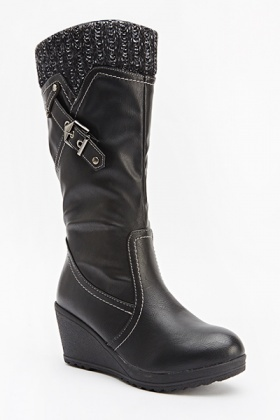 Wedged Black Boots