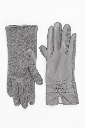 Bow Trim Faux Leather Gloves