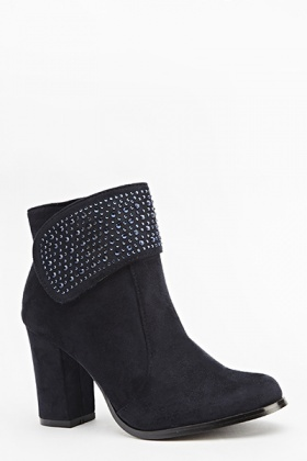 Encrusted Suedette Boots