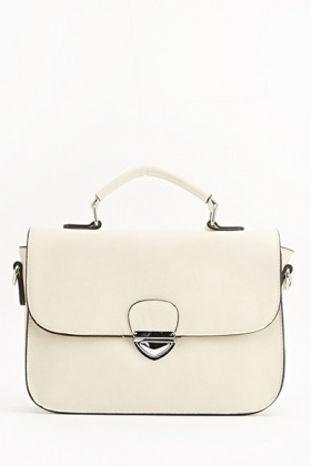 Faux Leather Front Buckle Crossbody Bag