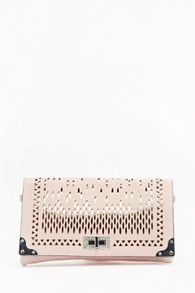 Holographic Cut Out Encrusted Clutch Bag