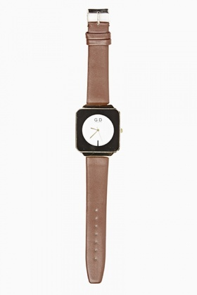 Square Faux Leather Strap Watch
