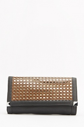 Textured Holographic Cut Out Clutch Bag