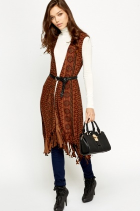 Aztec Brown Printed Cardigan