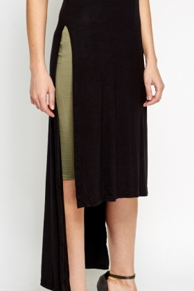 Drop Back Slit Hem Top