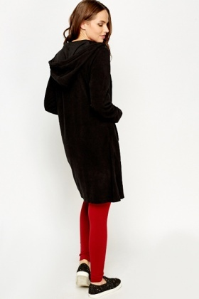 Long Fleeced Hooded Zip Up Jumper