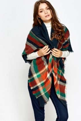 Multi Checked Scarf Wrap