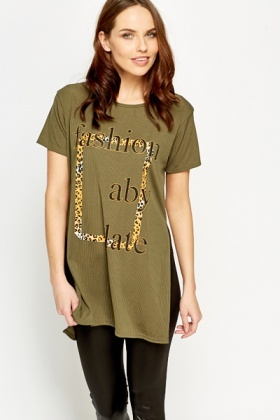 Printed Split Hem Top
