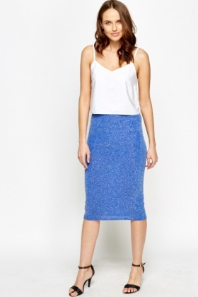 Royal Blue Metallic Midi Skirt