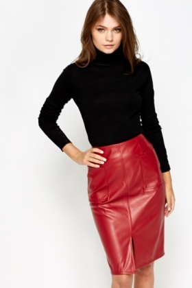 Split Front Red Faux Leather Skirt