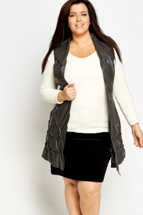 Faux Leather Sleeveless Coat