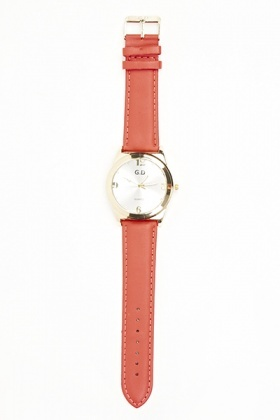 Gold Faux Leather Strap Watch
