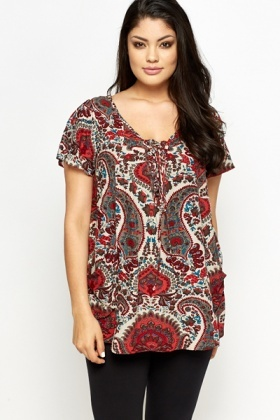 Red Paisley Lace Up Top