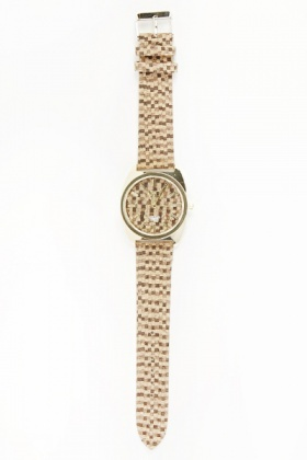 Two Tone Printed Strap Watch
