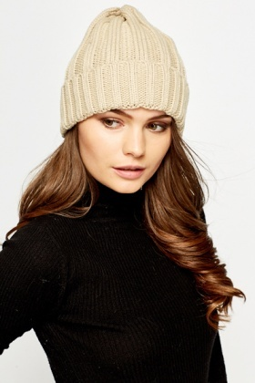 Beige Ribbed Knit Beanie Hat