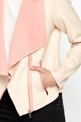 Contrast Peach Waterfall Jacket