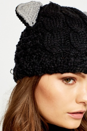 196a8333118 Knit Cat Ear Beanie Hat - Just £5