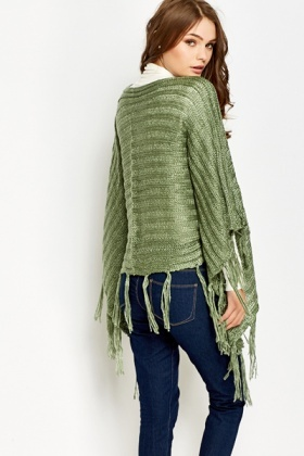 Loose Knit Metallic Poncho