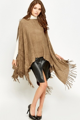 Textured Brown Poncho