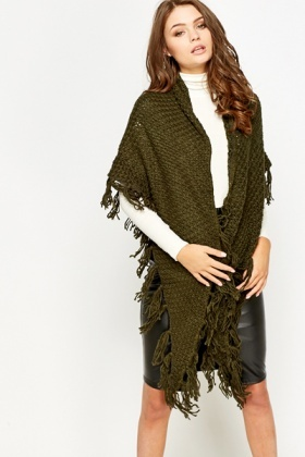 Triangle Loose Knit Wrap Scarf