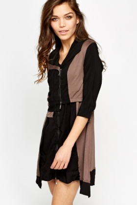 Two Tone Dress And Cardigan Set