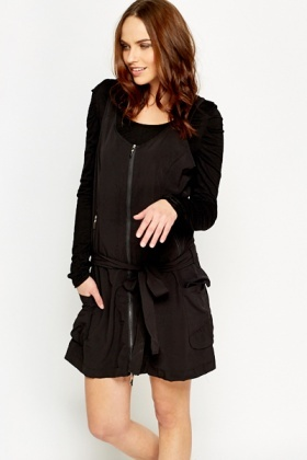 Zip Up Contrast Dress