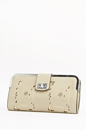 Engraved Detail Holographic Clutch Bag