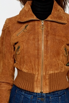 Brown Suedette Cropped Jacket