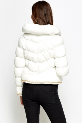 Chain Trim Quilted Coat