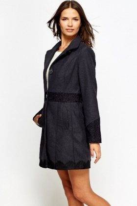 Charcoal Lace Insert Coat
