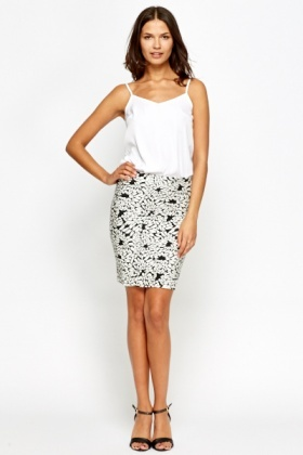 Contrast Printed Bodycon Skirt