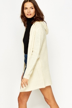 Cream Hooded Chunky Knit Cardigan - Just £5