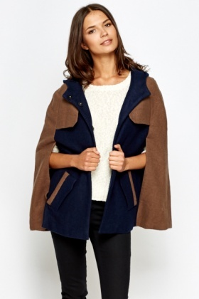 Hooded Contrast Cape