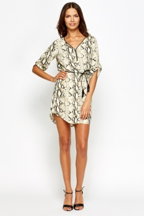 Snake Print Belted Dress