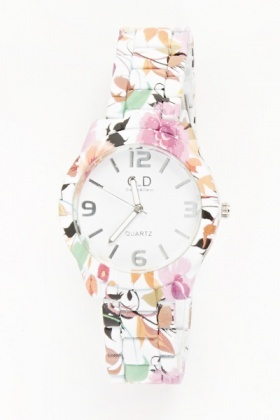White Multi Floral Bracelet Watch