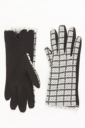 Chain Trim Two Tone Gloves