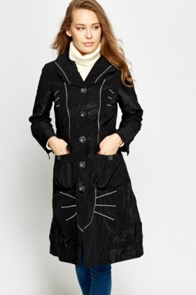 Contrast Stitched Trench Coat
