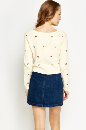 Cream Love Heart Jumper