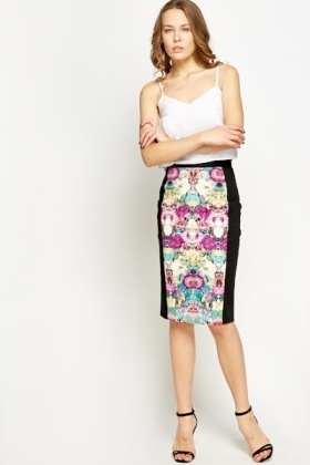 Floral Printed Front Pencil Skirt
