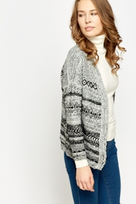 Knitted Contrast Open Cardigan