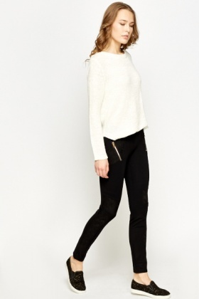 Lace Insert Black Leggings