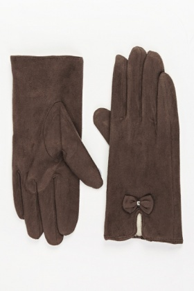 Suedette Front Bow Gloves